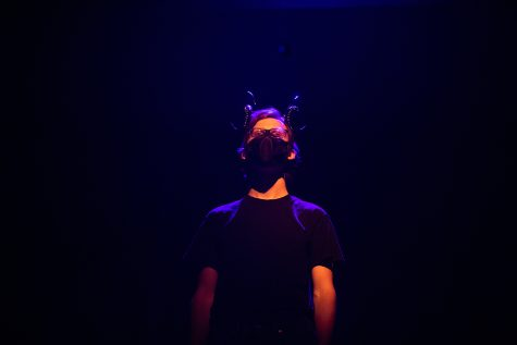 University of Iowa student Brian Niles practices during a Queer Horror Festival rehearsal at the MacVey Theatre at the University of Iowa on Wednesday Oct. 13, 2021.
