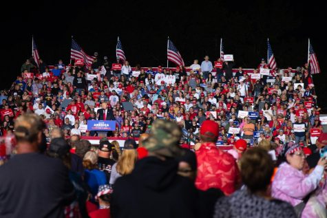 Former president Donald Trump addresses attendees during his Save America rally in Des Moines, Iowa, on Saturday, Oct. 9, 2021.