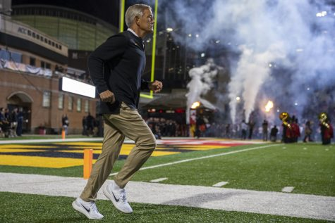 Iowa head coach Kirk Ferentz enters the field during a football game between Iowa and Maryland at Maryland Stadium on Friday, Oct. 1, 2021. The Hawkeyes defeated the Terrapins 51-14.