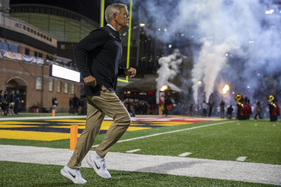 Iowa+head+coach+Kirk+Ferentz+enters+the+field+during+a+football+game+between+Iowa+and+Maryland+at+Maryland+Stadium+on+Friday%2C+Oct.+1%2C+2021.+The+Hawkeyes+defeated+the+Terrapins+51-14.+