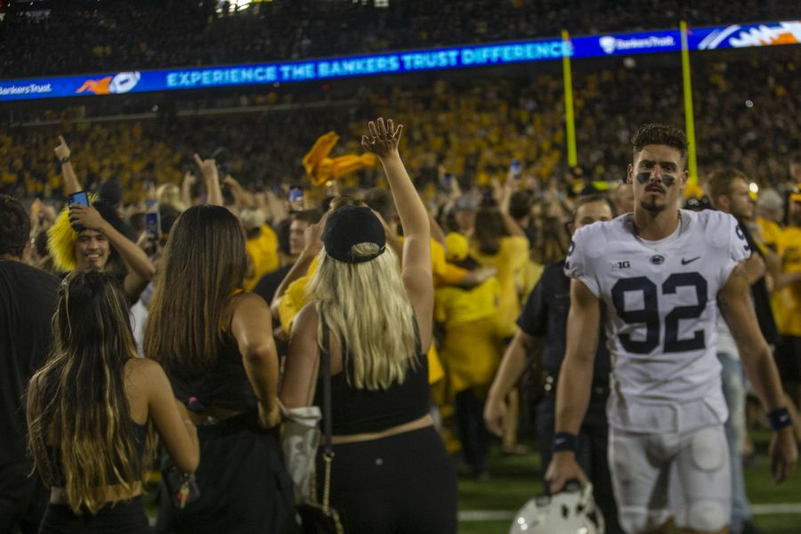Penn State kicker Jake Pinegar walks off the field after a football game between No. 3 Iowa and No. 4 Penn State at Kinnick Stadium on Saturday, Oct. 9, 2021. The Hawkeyes defeated the Nittany Lions 23-20.