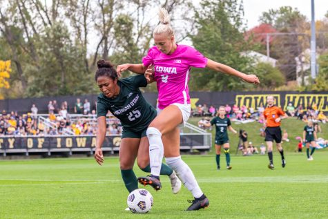 Iowa defender Samantha Cary maintains possession of the ball during a soccer game between Iowa and Michigan State at the Iowa Soccer Complex on Sunday, Oct. 3, 2021. Michigan State defeated Iowa 2-1.