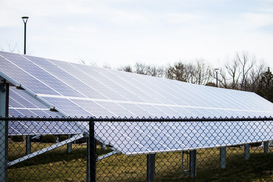 Solar panels are seen outside of the Johnson County Administration Building on April 23, 2018.