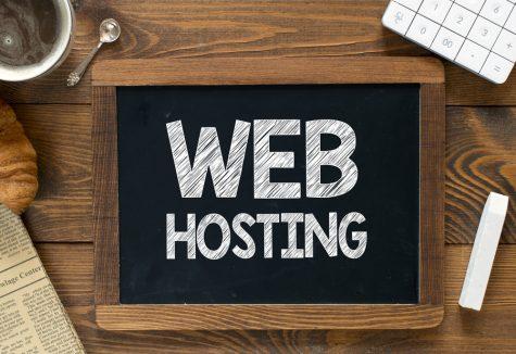 Web hosting handwritten on blackboard.